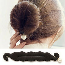 Magic Sponge Clip Foam Donut Hair Styling Bun Maker Curler With Pearl Tool Twist
