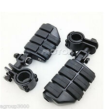 "1-1/4"" Black Foot Pegs & Clamps Mount Engine Guard For Harley High way Motor"