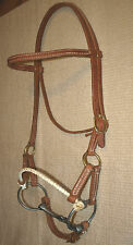 Western single rope harness leather side pull w/ bit USA custom  natural H4010