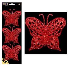 Christmas - 3 Pack Wire on Glitter Butterfly Tree Decorations (DP) - Red