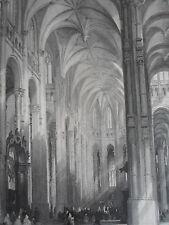Eglise St- EUSTACHE PARIS intérieure GRAVURE ORIGINALE d'aprés T.ALLOM XIXéme