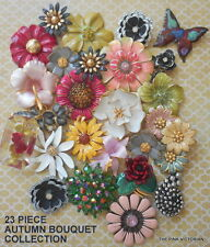 (23)pc VINTAGE metal ENAMEL rhinestone  flower PIN lot BUTTERFLY & earrings