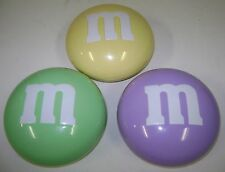 3 M & M CANDY DISH CONTAINER M & M'S PASTEL YELLOW LAVENDER GREEN EASTER 6""