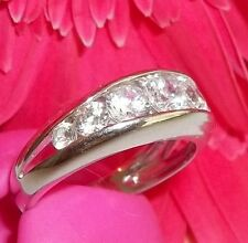 "New Sterling Silver Bezel CZ Band Graduated Ring Sz 9 3/4 4g 1/4"" wide SETA 925"