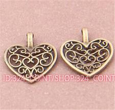 P471 20pcs Antique Bronze heart Pendant Bead Charms Accessories wholesale