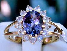 1.53ct Genuine AAA Tanzanite Solitaire & Rainbow Moonstone Halo 10k Gold, Size 5