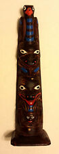 Authentic Vintage Carved Wood Totem Pole Souvenir of Alaska With Label Ketchikan