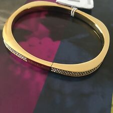 Michael Kors Gold Tone Crystal Brilliance Hinge Bangle Bracelet MKJ5503 NWT