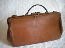 Vintage 1920s French leather bag Gladstone doctors medical steam punk bag