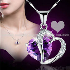Love Heart Crystal Rhinestone Silver Plated Chain Pendant Necklace Women Jewelry