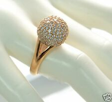 Bronzo Italia Bold Pave' Crystal Domed Bead Ring Size - 8 (Clear)