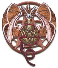 DRAGON holding pentagram EMBROIDERED IRON-ON PATCH **FREE SHIPPING** satan metal