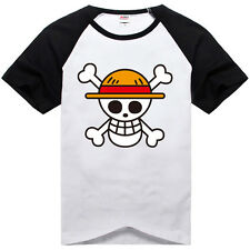 Anime One Piece Monkey D Luffy Cotton T-Shirt Short Sleeve Tee Shirt Size S-XXL