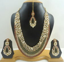 MAROON GREEN CZ GOLD TONE NECKLACE EARRINGS SET BOLLYWOOD BRIDAL PARTY JEWELRY