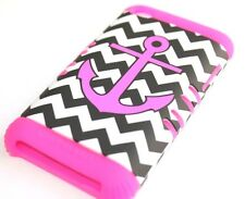 iPod Touch 4th Gen - HARD & SOFT RUBBER HYBRID CASE PINK BLACK CHEVRON ANCHOR