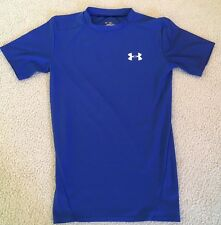 Men's UNDER ARMOUR HeatGear Short Sleeve Blue Compression Shirt Size Medium