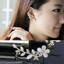1Pc Women Flower Leaf Shape Rhinestone Crystal Golden Ear Cuff Clip Earrings