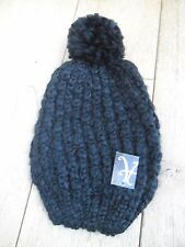 MONSOON ACCESSORIZE BLACK  CHUNKY LOOSE RIB OVERSIZED SLOUCHY BOBBLE HAT