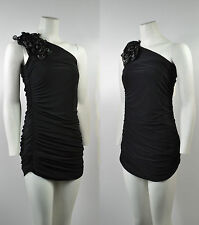 New Womens Black One Shoulder Rouged Flower Fitted Party Dress