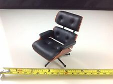 Dollhouse Miniature Furniture Office Home Modern Black Vinyl Relaxing Chair 1:12