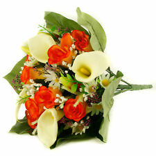 Artificial silk mixed flowers bouquet Calla Lilies Roses 40cm Orange