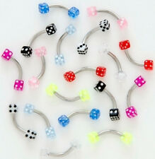 10 16g DICE EYEBROW Rings WHOLESALE Body Jewelry LOT