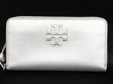 Auth TORY BURCH Long Wallet Silver Tone Leather Free Shipping 21130604900 X13F