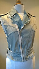 NEW Alexander McQueen McQ stone washed denim Biker gilet/jacket Size Small