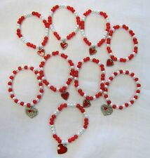 Wholesale Lot  Red Heart Stretch Beaded Charm Bracelets # 60322 New