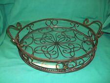 "Princess House Round Metal Serving Tray with Glass 14"" Diameter Excellent No Box"