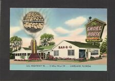 POSTCARD: THE SMOKE HOUSE BAR-B-Q RESTAURANT - LAKELAND, FLORIDA - Unused, 1950s