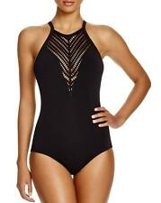 NWT NEW Robin Piccone Black Sophia High Neck One Piece Swimsuit 8 $158 f03