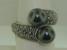 BEAUTIFUL STERLING SILVER SPARKLING MARCASITE & HEMATITE RING! NEW OLD STOCK!