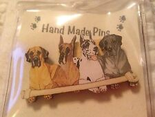 New PipSqueak Productions Hand Made Pin Brooch Jewlery Great Danes Sharing Bone