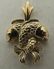 14K Solid  Yellow Gold Pisces Zodiac Small Pendant