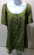Essentials Peasant Army Green Paisley Pleated Blouse Top Tunic Womens 1X EUC