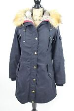 1 Madison Navy Blue Women's Faux Fur Trim Hoodie Parka Coat Top M ...