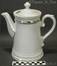 Antique Old Paris French Limoges Coffee Pot Tall Teapot White Porcelain Gold (GG