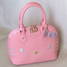 HelloKitty Crystals  Handbag Tote Shoulder Bag 2017 New  Pu Bow Pink Small Size