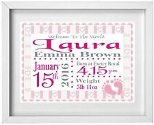 BABY GIRLS NAME | Personalised Picture| New Baby | Gift | FREE POST | (NP015)