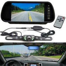 "7"" LCD Screen Car Rear View Backup Mirror Monitor+Wireless Reverse Camera Kit"