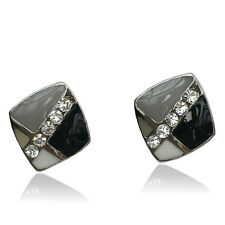 14k white Gold plated enamel Swarovski cyrstals black stud men women earrings