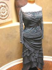 NWT Jean de LYS MOB formal occasion evening social party SILK Dress blue 14