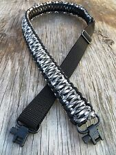 Adjustable Paracord Rifle Gun Sling With Swivels Urban Camo & Black