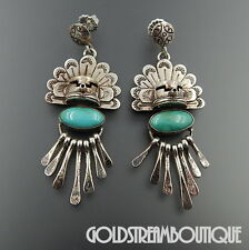 VINTAGE NAVAJO STERLING SILVER TURQUOISE KACHINA HEADDRESS DANGLE POST EARRINGS