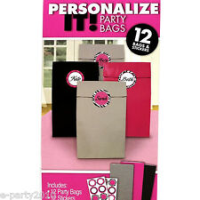 ZEBRA STRIPES Pink and Black PARTY FAVOR BAGS (12) ~ Birthday Party Supplies