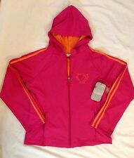 GIRLS PINK HOOD SWEATERS JACKET SIZE XL (14/16) FULL ZIP 2 FRONT POCKET SPANDEX