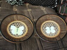"""2 X ELEGANT BAMBOO DISHES GLASS CENTRE & PAPER BUTTERFLY STRANDED RIM 6"""""""