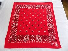 "Red Paisley Bandana Doo Rag Handkerchief RN#13960 20.5""x22"" Made in USA"