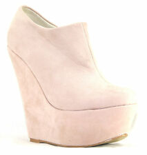 NEW WOMENS LADIES ANKLE FAUX SUEDE PLATFORM HIGH HEEL ZIP WEDGES SHOES BOOTS 3-8